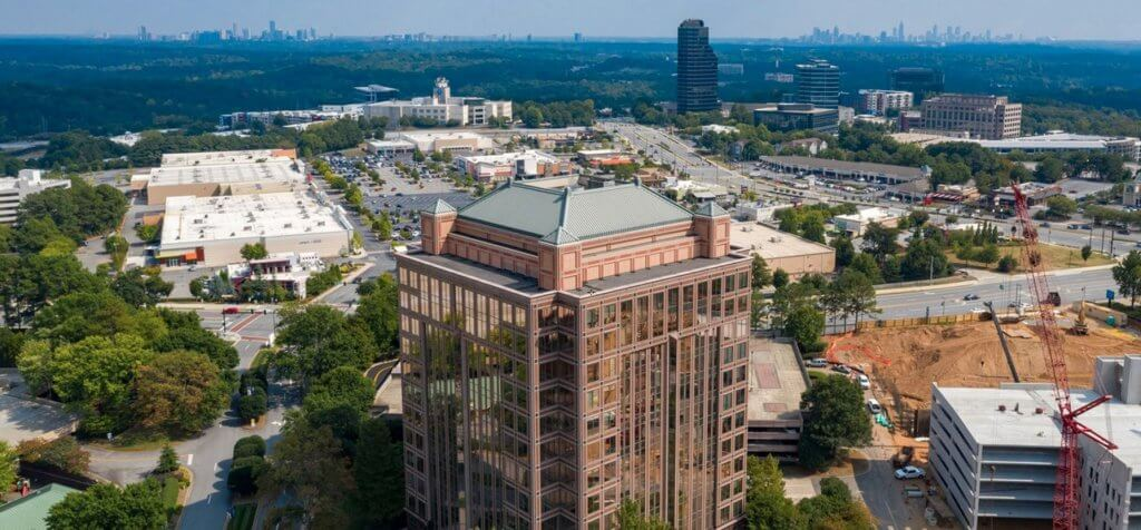 This is a picture of the mansard roof of a tall building in Atlanta, GA.
